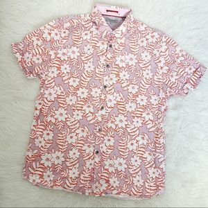 TED BAKER Floral Button Down Shirt Size 5